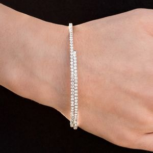 Sleek Sparkle White Rhinestone Bracelet